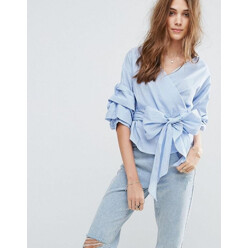 Wrap Front Gingham Blouse