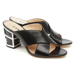 Simmie Black Leather Cross Strap Caged Heel Mule