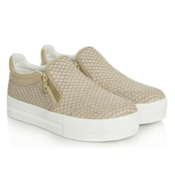 Jordy Taupe Leather Reptile Chunky Sole Trainer