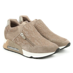 Look Lace Taupe Lace Suede Trainer