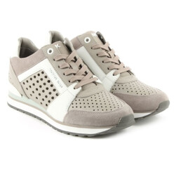Billie Grey Leather Suede Perforated Trainer