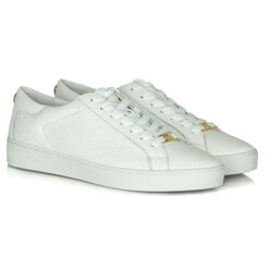 Colby White Leather Embossed Lace Up Trainer