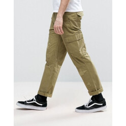 Slim Cargo Trousers With Rip And Repair Detail
