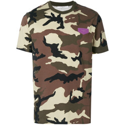 Cuban-Fit Camouflage Print T-Shirt