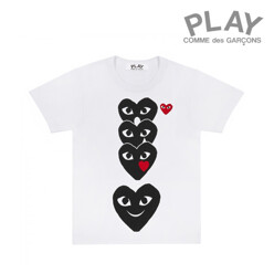 Play T-Shirt With Column Of Emoji Hearts (White)