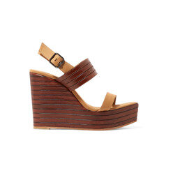 Leather And Canvas Wedge Sandals