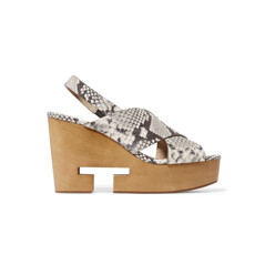 Infinity Cutout Snake-Effect Leather Wedge Sandals