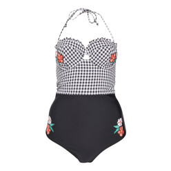 Gingham Floral Applique Swimsuit