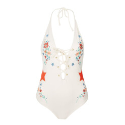 Star And Floral Embroidered Swimsuit