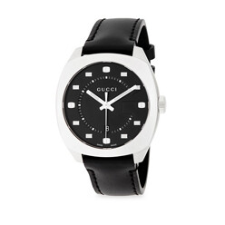 Stainless Steel Analog Leather Strap Watch