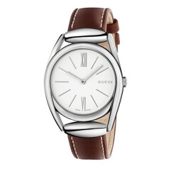 Horsebit Stainless Steel Brown Leather Strap Watch