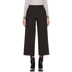 Black Wide-Leg Cropped Trousers