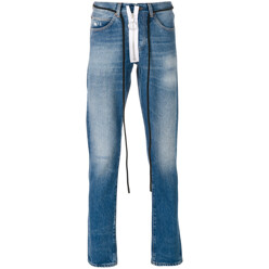 String Tie Faded Jeans