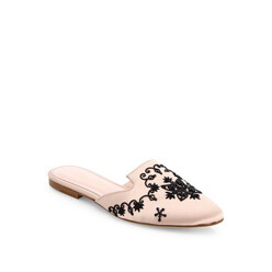 Embroidered Satin Flat Mules
