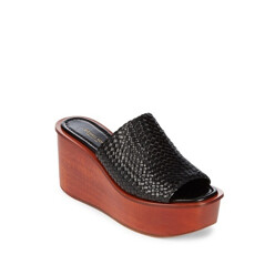 Jane Woven Leather Wedge Sandals