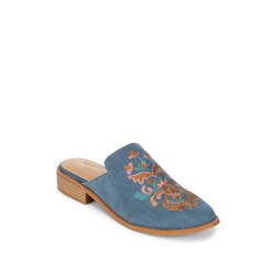 Surprised Embroidered Suede Mules