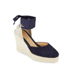 Low Wedge Leather Espadrille Sandals