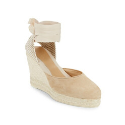Low Suede Wedge Espadrilles