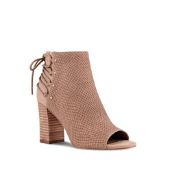 Britt Textured Suede Peep Toe Ankle Boots