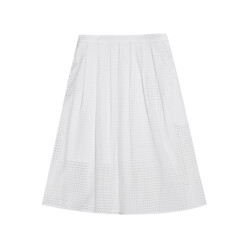 Pleated Broderie Anglaise Cotton Skirt