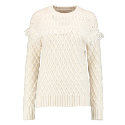 Fringed Cable-Knit Wool Sweater