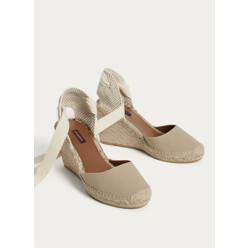 Lace-Up Jute Wedge Espadrilles