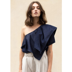 Denim One Shoulder Ruffle Top