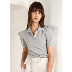 Grey Puff Sleeve Polo Shirt