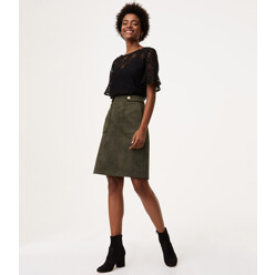 Faux Suede Button Tab Skirt