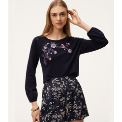 Floral Embroidered Puff Cuff Sweater