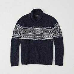 Fair Isle Shawl Collar Sweater