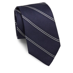 Roadster Striped And Textured Raw-Silk Tie